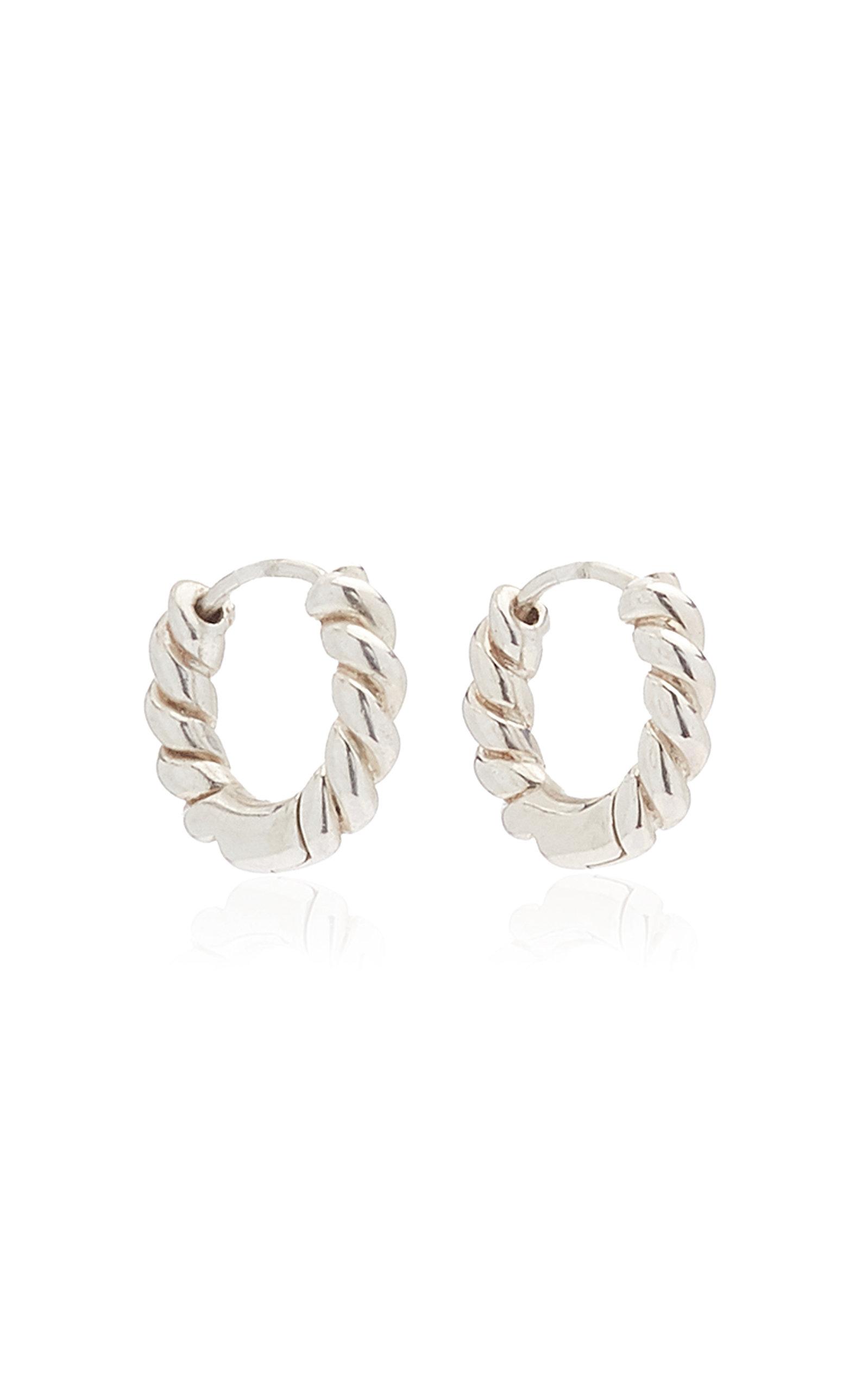 Women's Twisted Sterling Silver Hoop Earrings