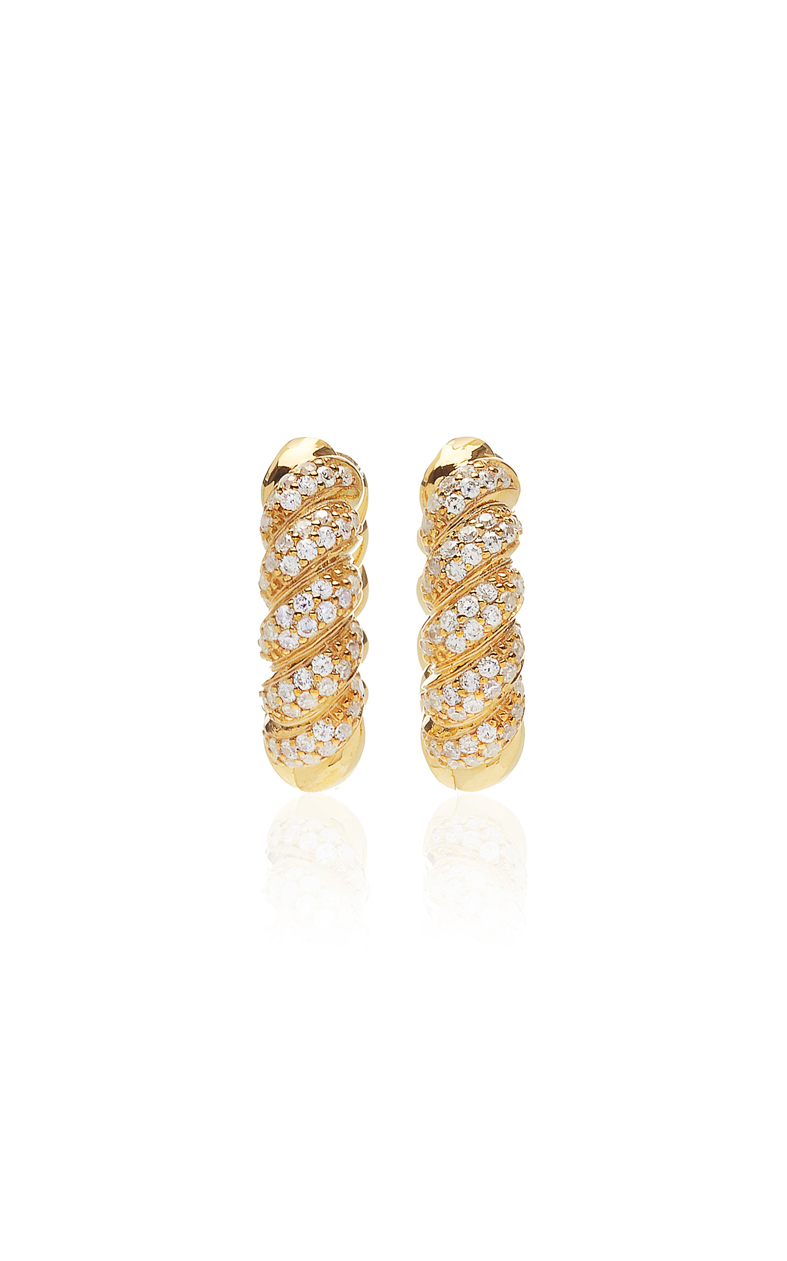 Women's Twisted Crystal-Embellished Gold-Plated Hoop Earrings