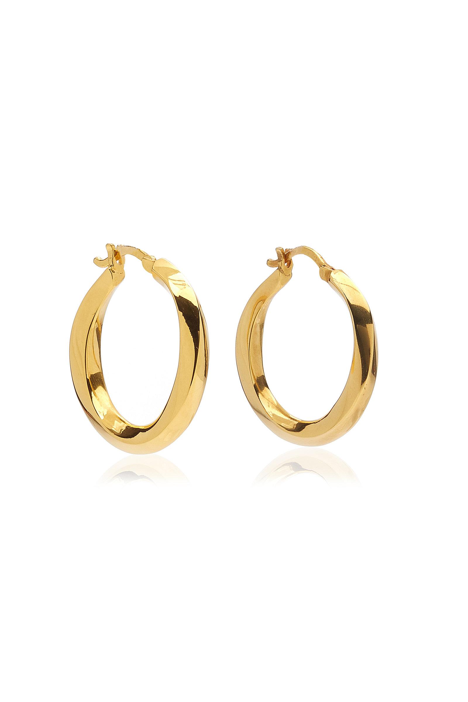 Women's Medium Swirl 14K Gold-Plated Hoop Earrings