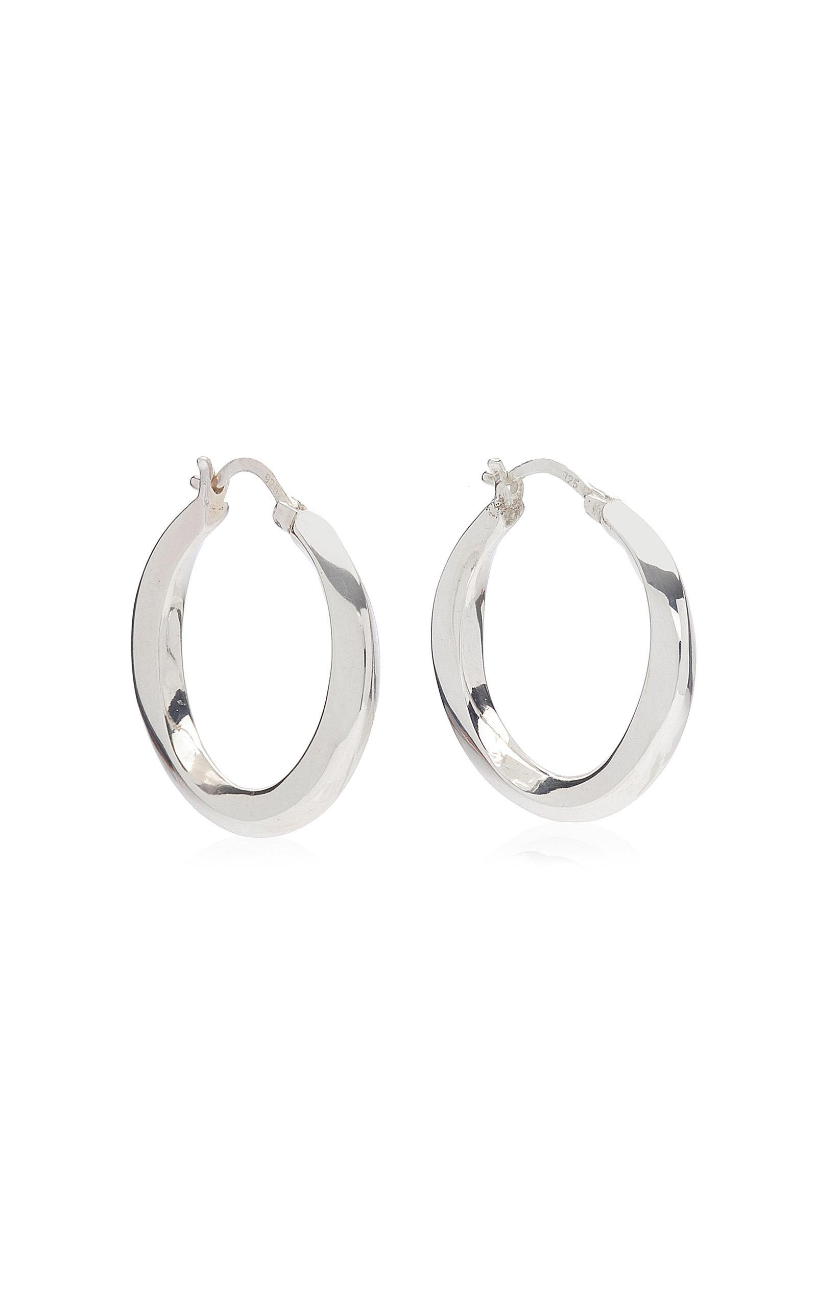 Women's Medium Swirl Sterling Silver Hoop Earrings