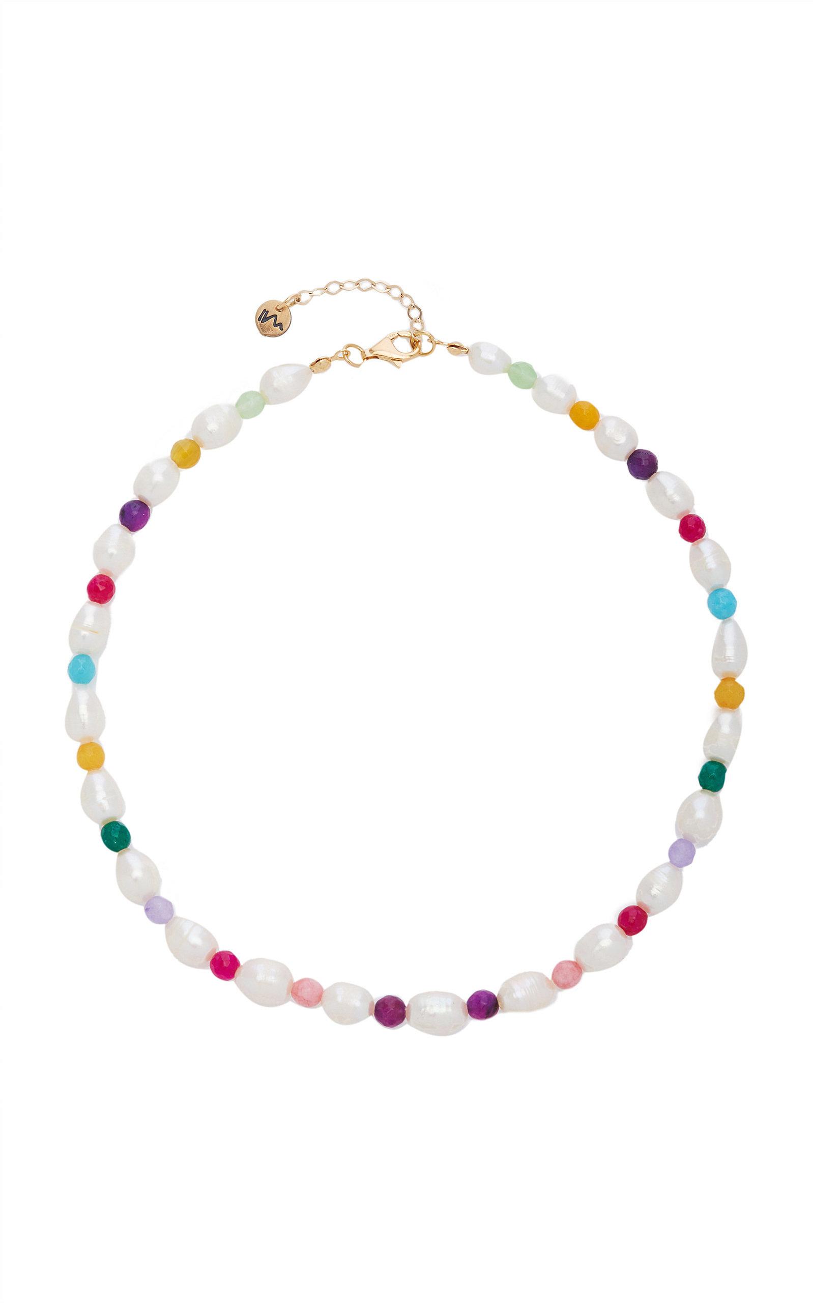 Women's Rainbow Pearl; Calcedony Necklace
