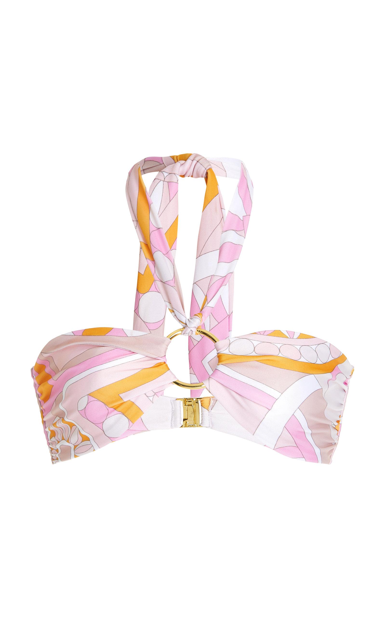 Women's Amulet Ring-Detailed Printed Bikini Top