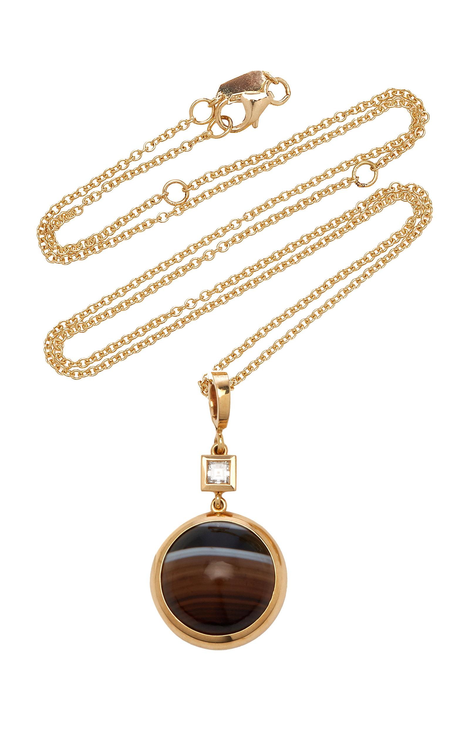 Women's Horizon 18K Yellow Gold Agate; Diamond Necklace