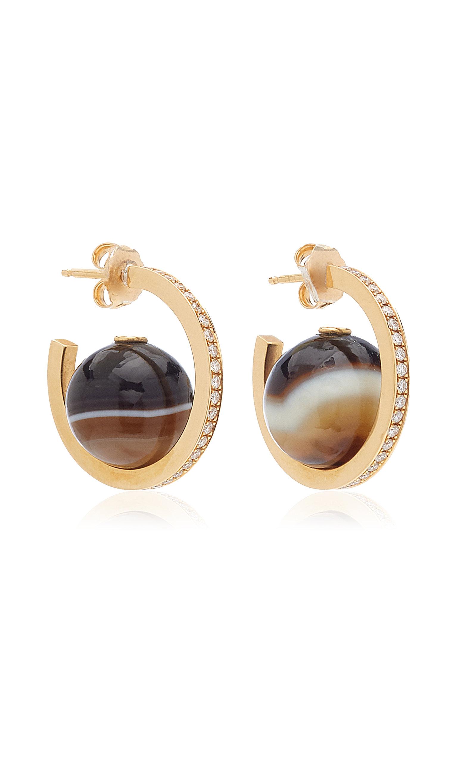 Women's Horizon 18K Yellow Gold Agate; Diamond Earrings