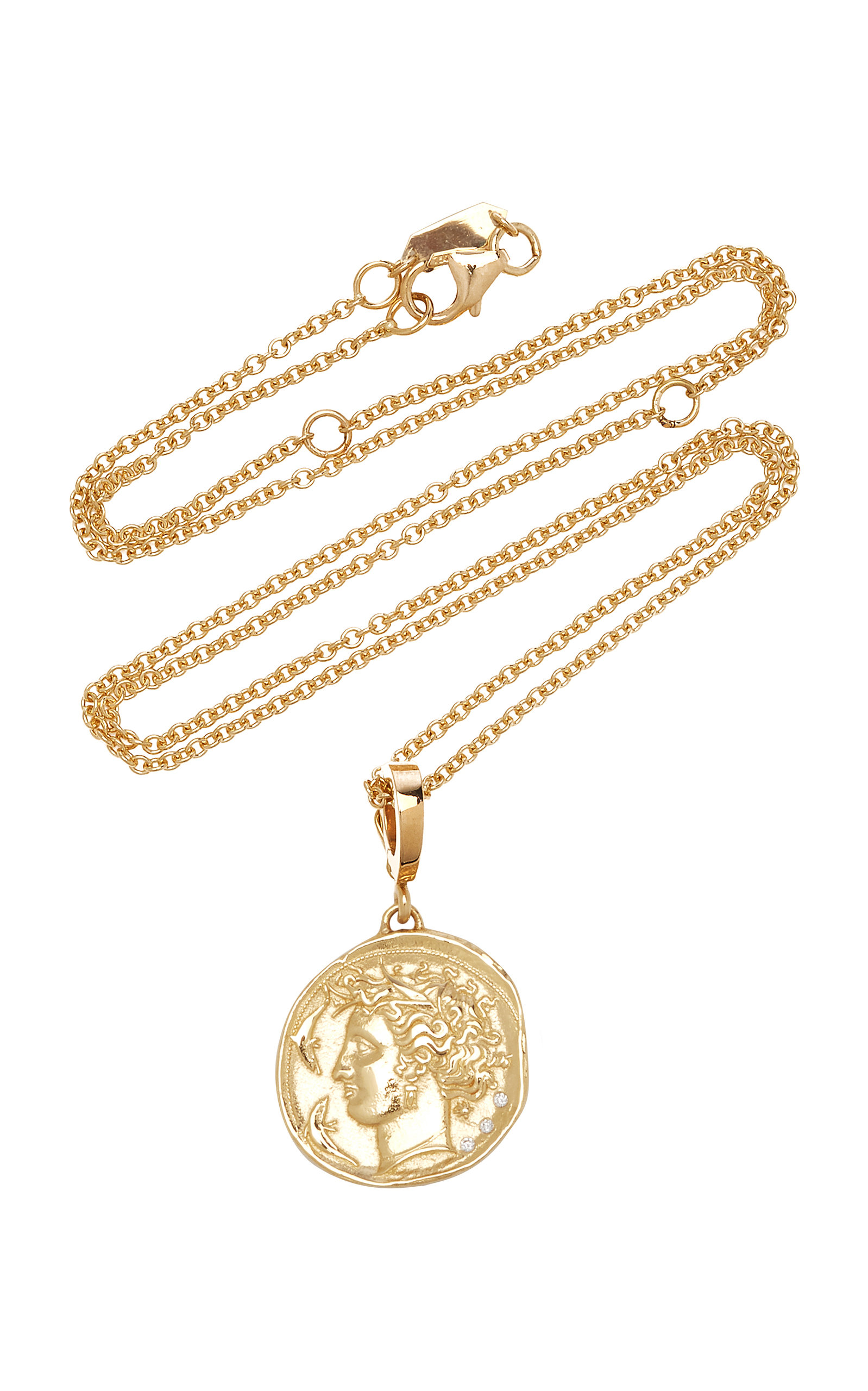 Women's Goddess Small 18K Yellow Gold Diamond Coin Necklace