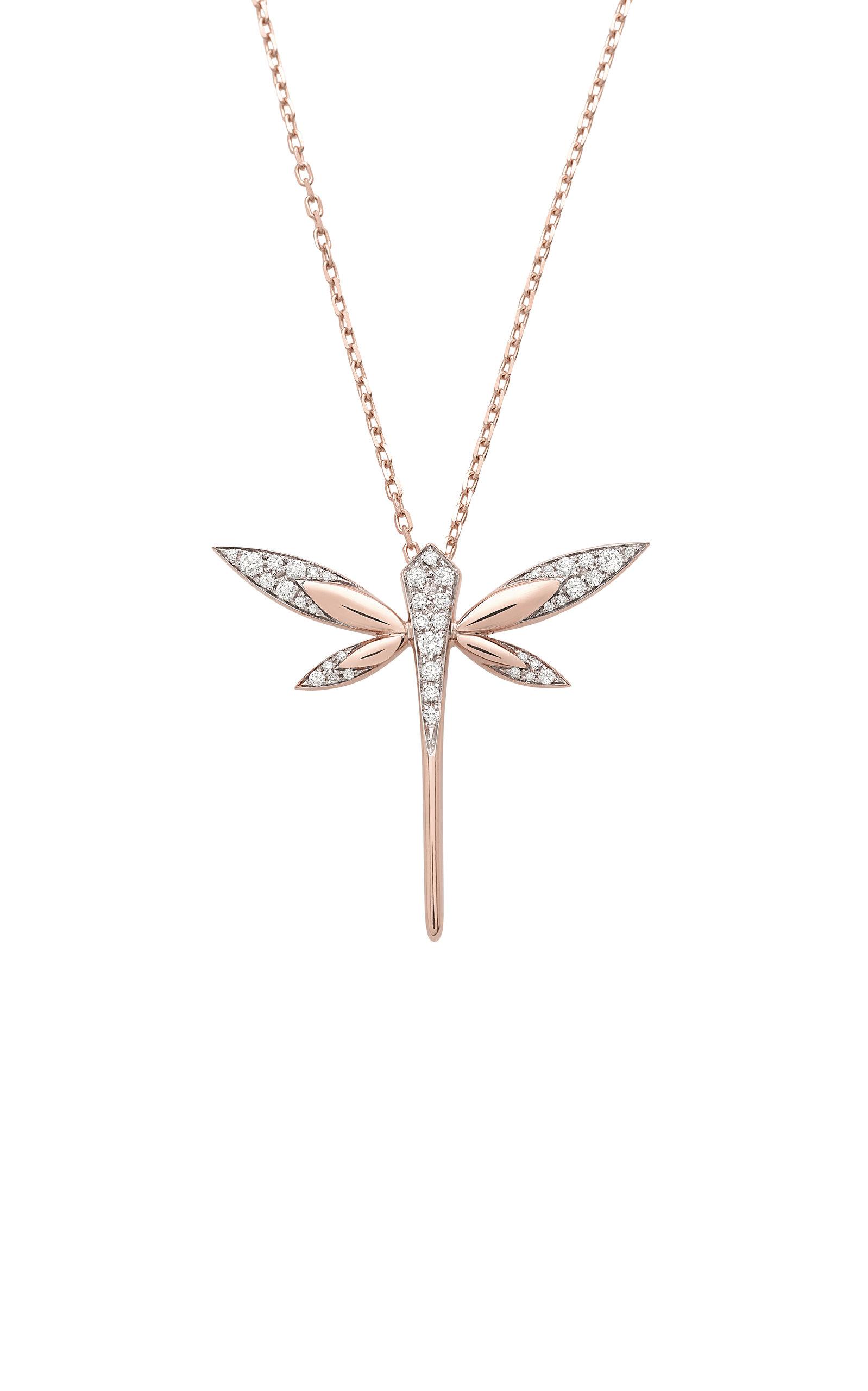 Women's Medium Dragonfly 18K Rose Gold Diamond Necklace